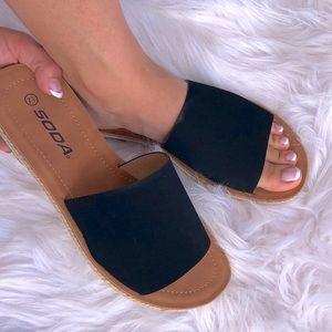 Soda Black Espadrille Braid Slip On Flat Sandal